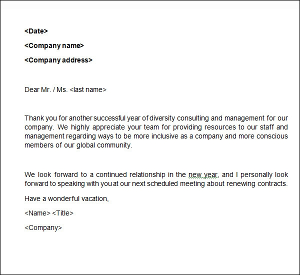 Sample Business Thank You Letter   Documents In Word