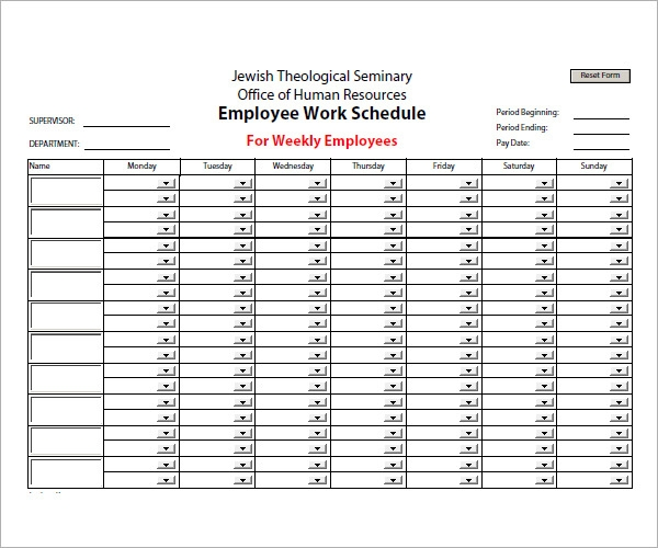 Sample Employee Schedule   Documents In Pdf Word