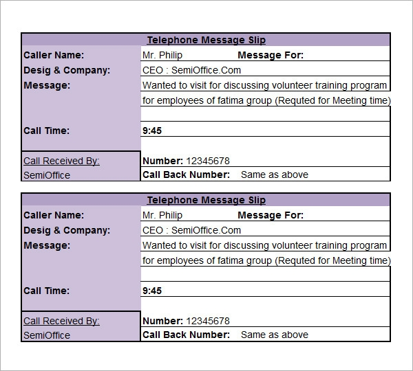 9 Phone Message Templates Free Download for Word Excel PDF – Telephone Number Template