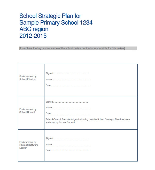 14 strategic plan templates pdf word sample templates for Strategic plan template for schools