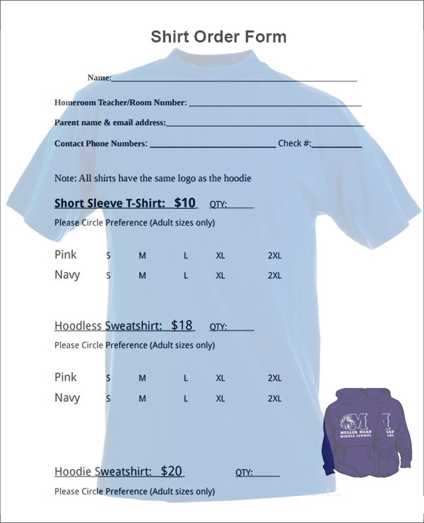 excel shirt order form template .