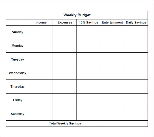 8 Examples Of Bi Weekly Budget Templates Sample Templates