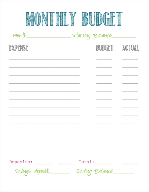Sample Budget 11 Example Format – Simple Monthly Budget Worksheet