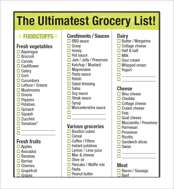 Sample Grocery List Template 9 Free Documents in Word Excel PDF – Printable Grocery List Template Free