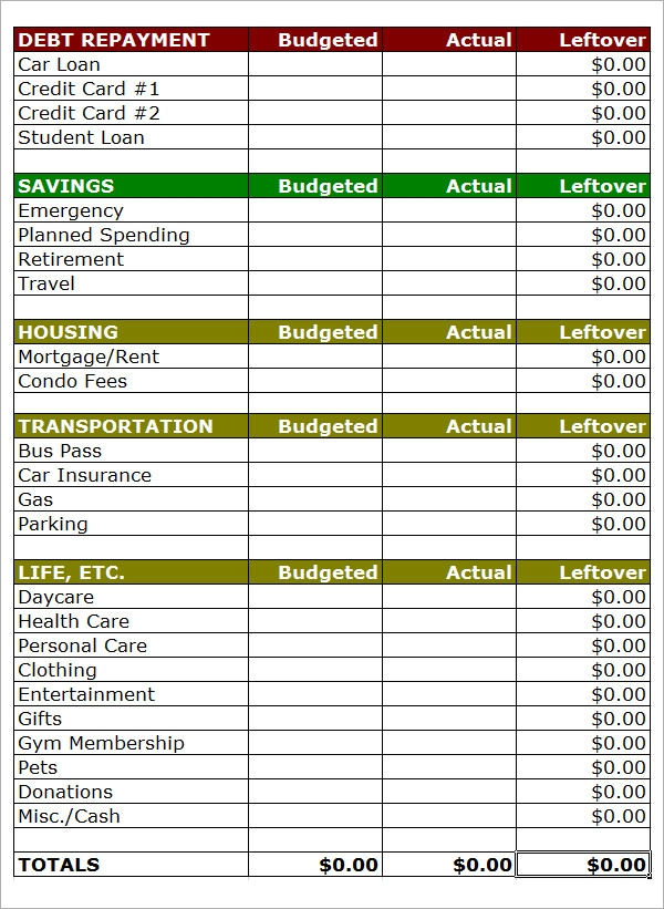 Simple Personal Monthly Budget Template