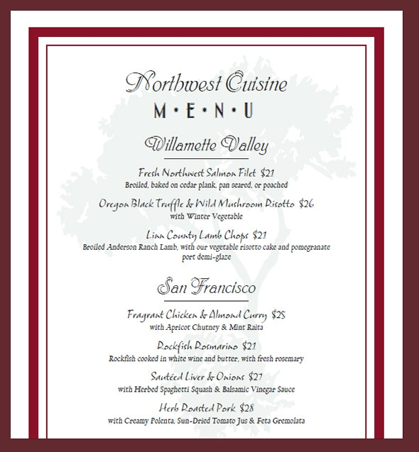 sample menu card template