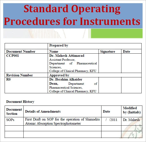 21 sample sop templates pdf doc sample templates for Standard operating guidelines template