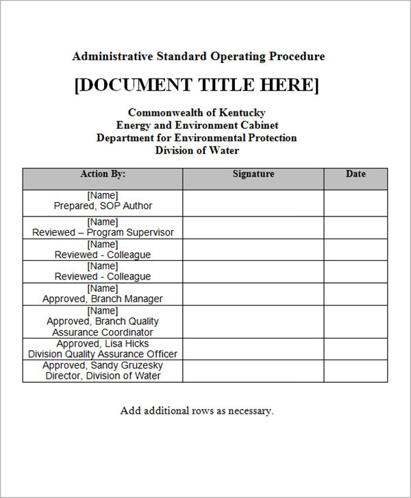Sample SOP Template 20 Free Documents in Word PDF Excel – Template for Sop