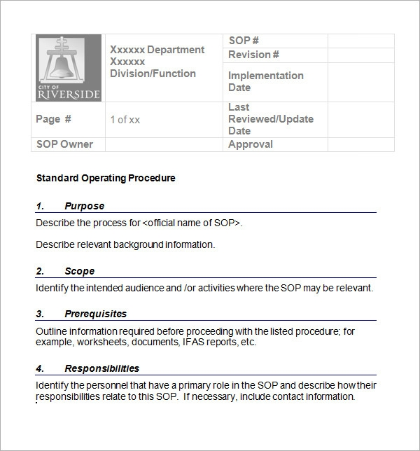 Doc417540 Sop Template Word 9 Standard Operating Procedure – Free Standard Operating Procedure Template Word