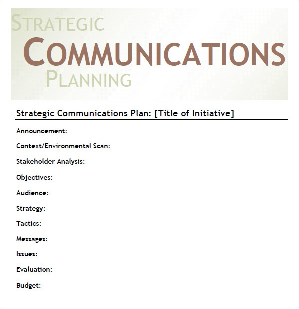 how to create a strategic communication plan