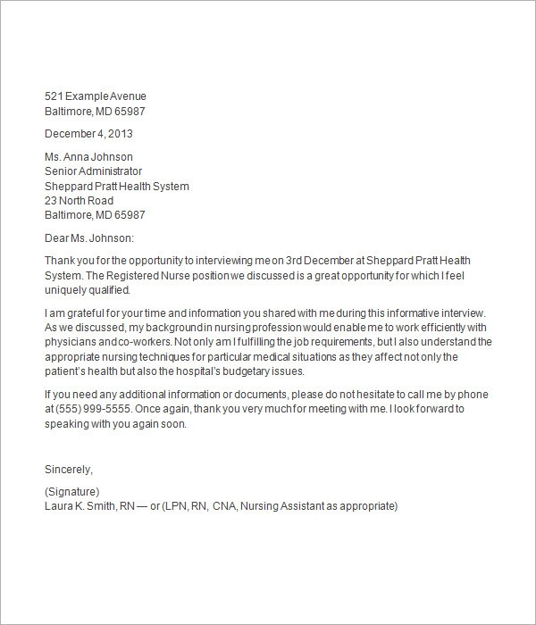 After Second Interview Thank You Letter Samples 10 Thank You Letter After Job Interview Sample Templates