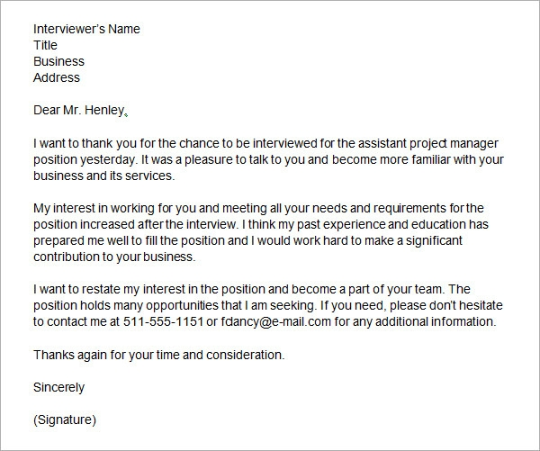 Thank You Letter After Phone Interview - Download Free Documents in ...