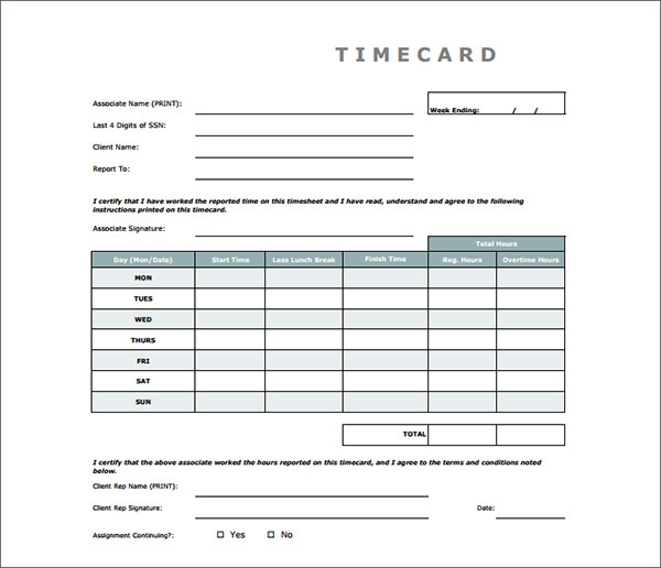 Time Card Calculator Templates