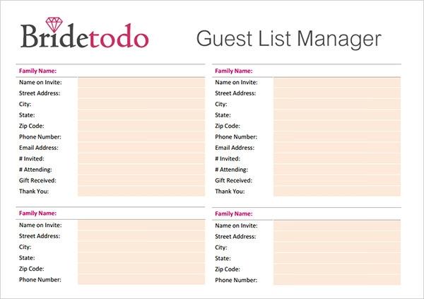 17 wedding guest list templates pdf word excel for Wedding shower gift list template