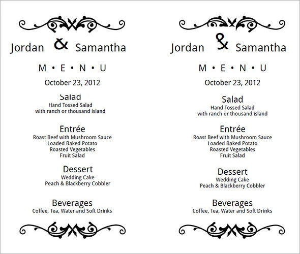 wedding menu card template free1