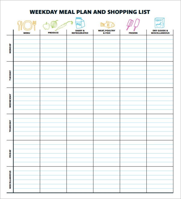 Worksheets Meal Planning Worksheet sample meal planning template 15download free documents in pdf weekday plan and shopping list