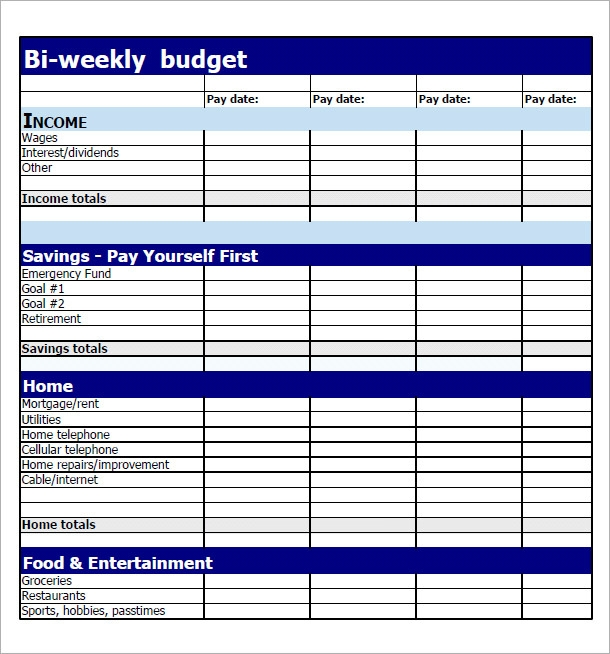 bi weekly budget excel spreadsheet download bi weekly budget planner