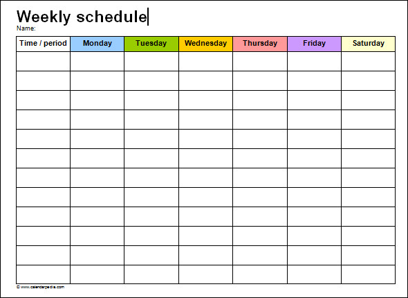 Doc29692272 Weekly Timetable Template Free Weekly Schedule – Shipping Schedule Template