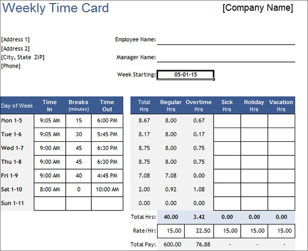 15  time card calculator templates