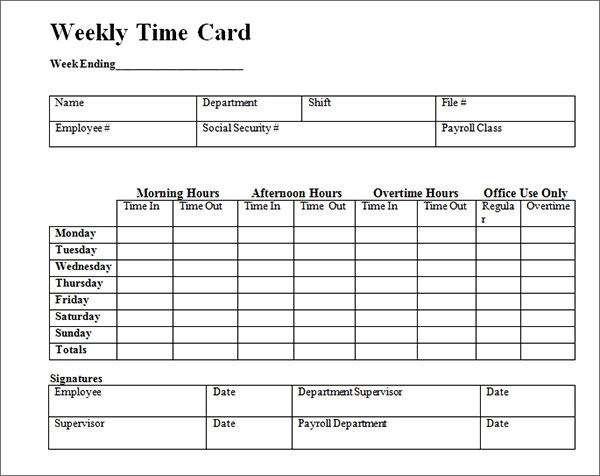 Free Printable Weekly Time Card Template IuXq3e5m