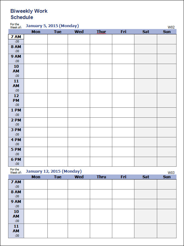 weekly work schedule template which is suitable to use and involves 14 ...