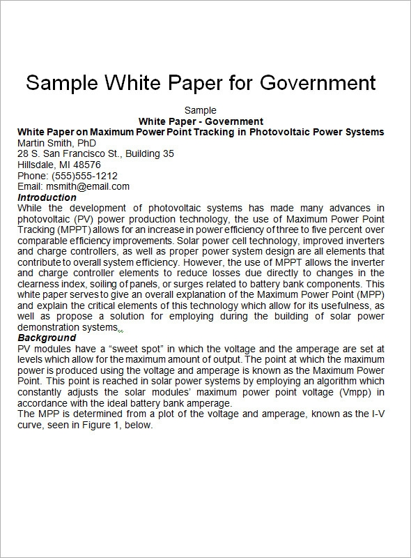 Sample White Paper Template   Free Documents In Pdf Word