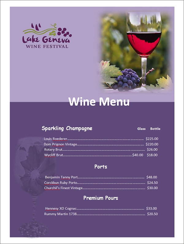 Sample Wine Menu Template  KakTakTk