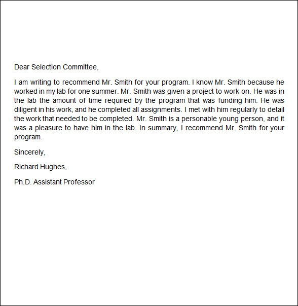 sample recommendation letter for employment