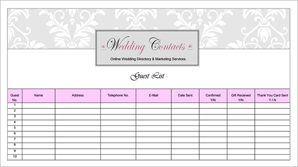 wedding guest list template excel