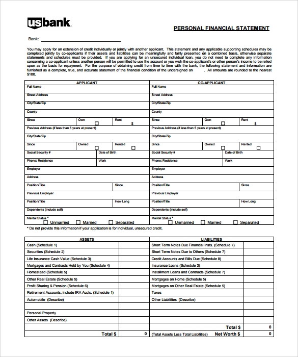Buy Original Essay – Personal Financial Statement Template