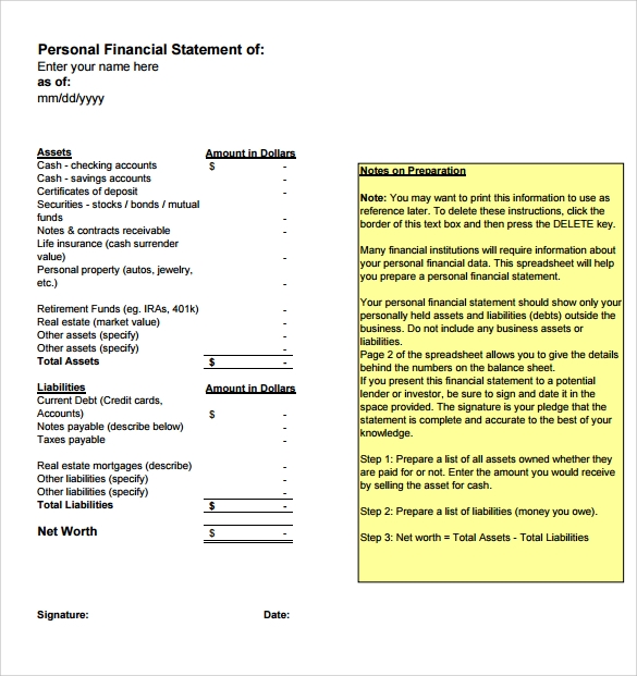 Worksheet Personal Financial Statement Worksheet personal financial statement templates 9 download free statement