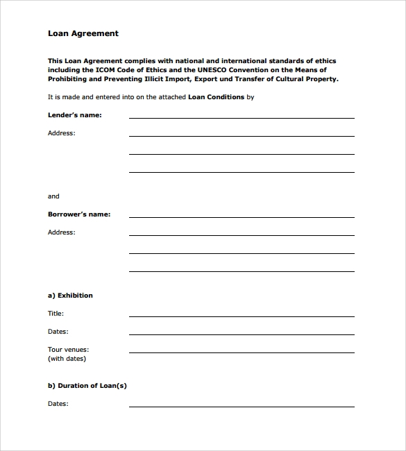 sample loan agreement 6 free documents download in pdf word