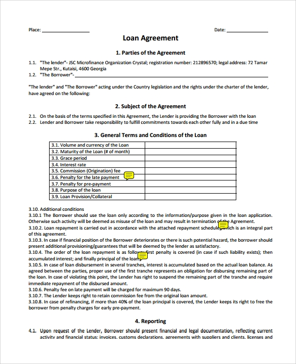 Sample Loan Agreement 6 Free Documents Download in PDF Word – Financial Loan Agreement Template