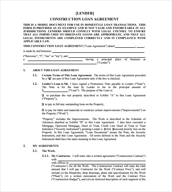 home loan agreement template