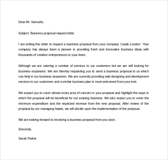 business proposal request letter - Business Proposal Letter