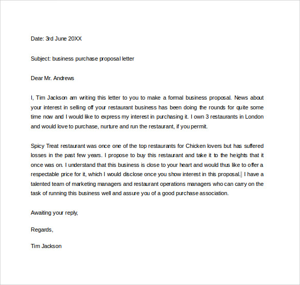 business purchase proposal letter - Business Proposal Letter