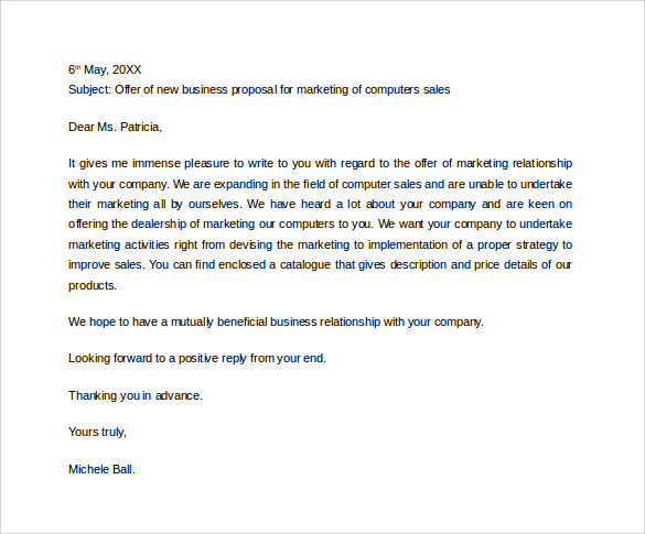 sample sales proposal letter