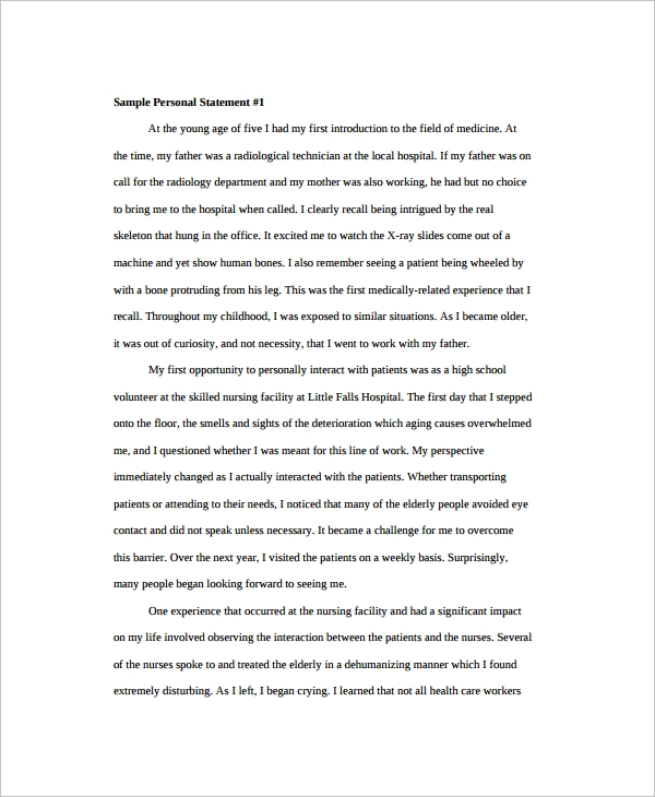 Personal Statement Sample   Documents In Pdf Word