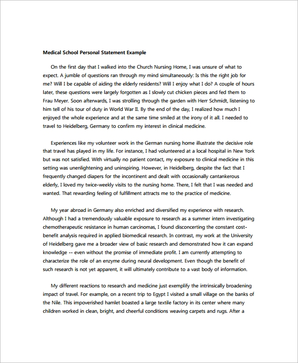 Personal Statement Sample - 5+ Documents In Pdf, Word