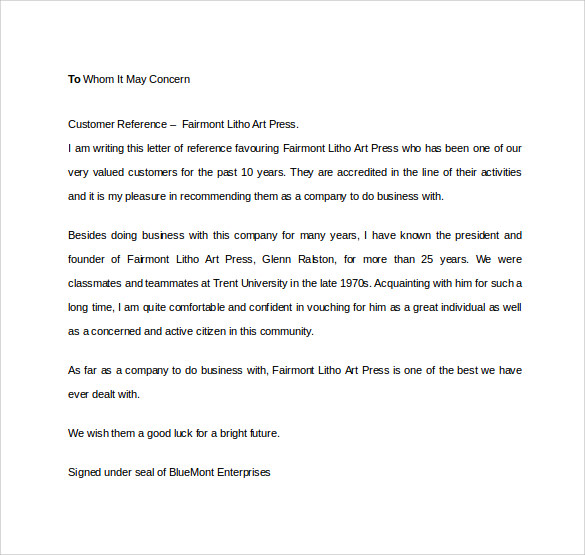 12 free business reference letters to download sample templates business customer reference letter altavistaventures Gallery