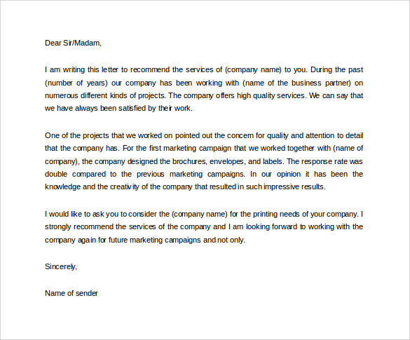 how to write a reference letter for another company