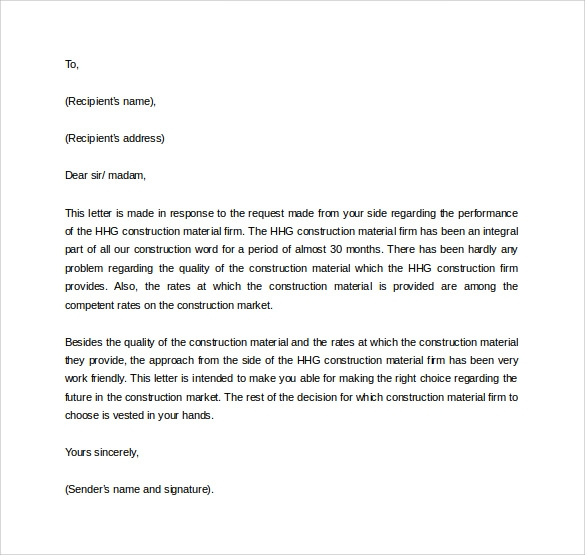 Business Reference Letter Template  Customer Reference Template