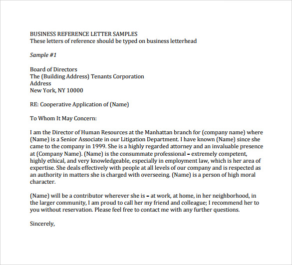 simple business reference letter to download