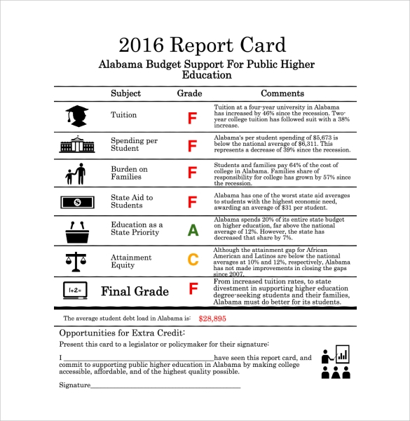 sample report card template