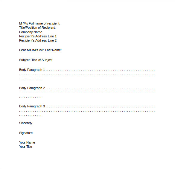 Formal Business Letter Format 29 Download Free Documents in – Sample Formal Letter Format