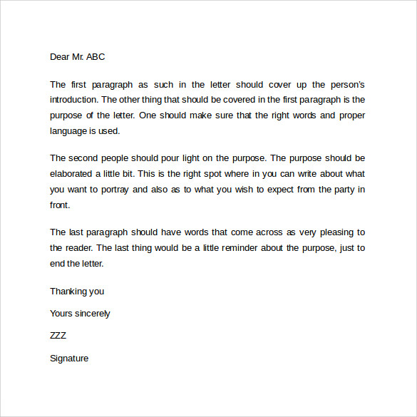 Simple Formal Business Letter Format