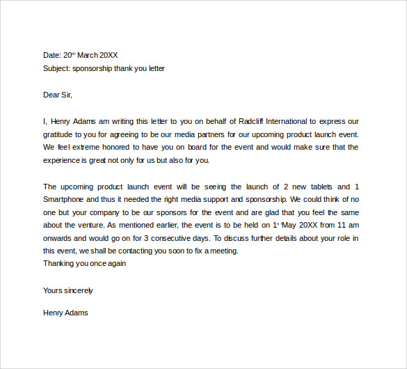 Sponsor Thank You Letter Template  Letter Template