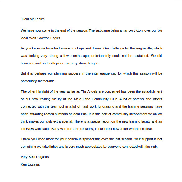 Sponsor Thank You Letter for Free