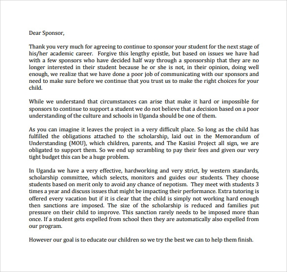 Thank You Letter to Sponsor PDF