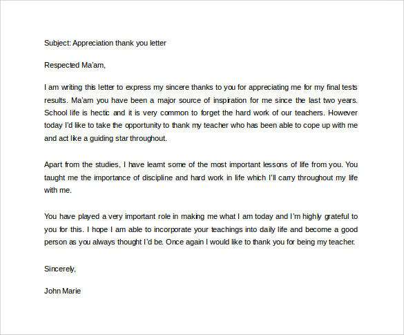 thank you letter for a teacher to appreciate